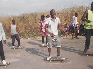 Skateboarding at the Kapiji Mall in Solwezi Zambia
